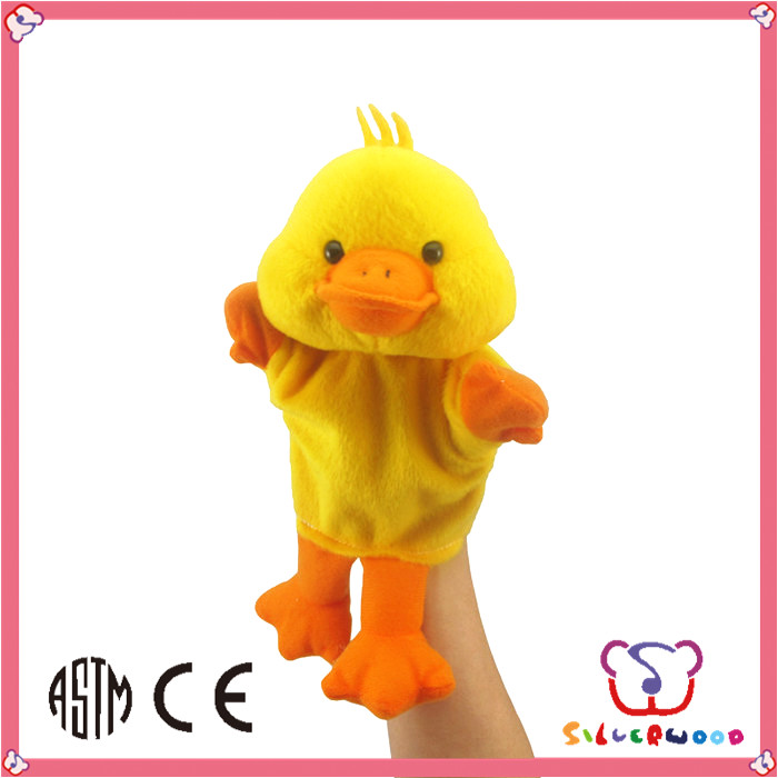 GSV ICTI Factory polyester animated soft stuffed duck hand puppet