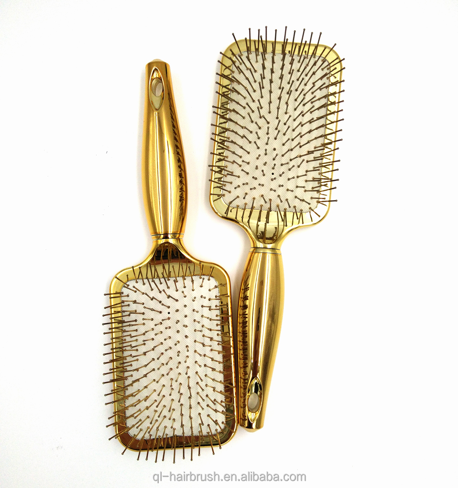 High quality shiny rose gold paddle metal metallic hair brush for massage with electroplating finish