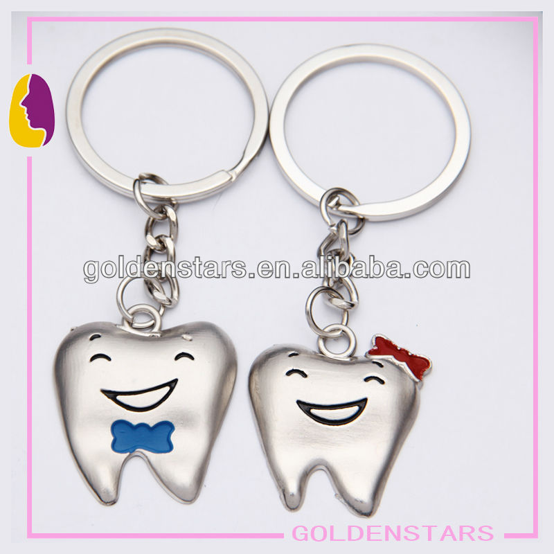 Funny Smiling tooth keychain metal customized