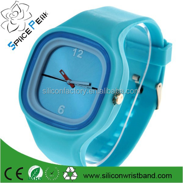100% high quality Fashion Square Candy Jelly Silicone rubber Unisex Sport Watch Bracelet Wrist Watch