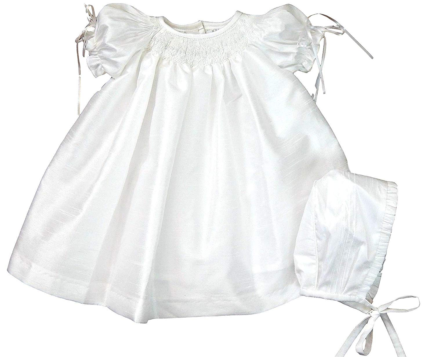 45a20acb5 Get Quotations · Suma White Shantung Smocked Baby Girl Dress With Bonnet Christening  Baptism Baby Girl Outfit