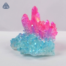 Rough Blue & Pink & Violet Bicolor And Tricolor Aura Quartz Crystal Cluster Raw Mineral Fossil