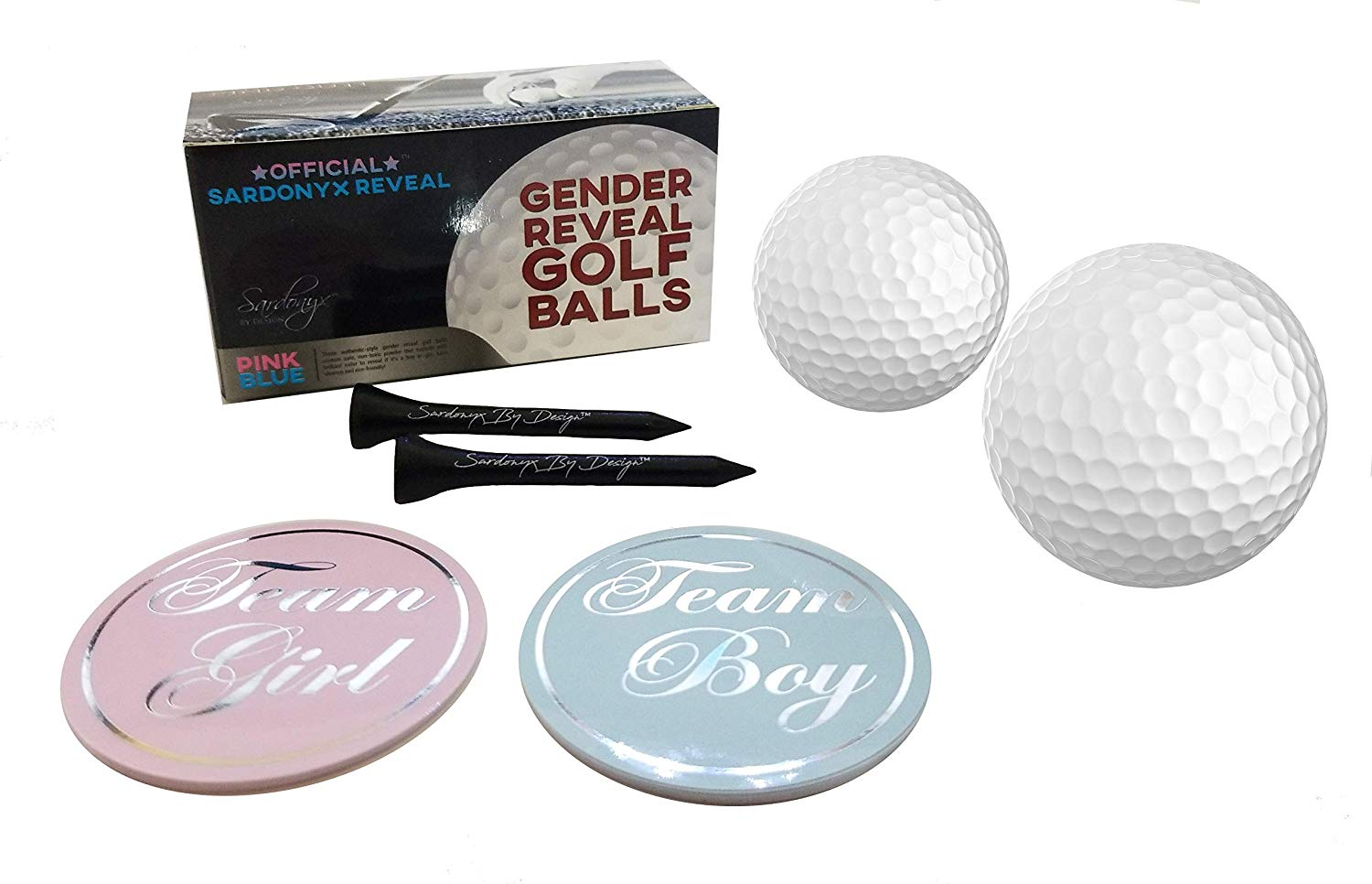 Gender Reveal Exploding Golf Balls with Vibrant Pink and Blue Powder | Complete 24 Piece Set! + Bonus Golf Tees & 20 Team Stickers 10 Team Pink (Girl) 10 Team Blue (Boy)