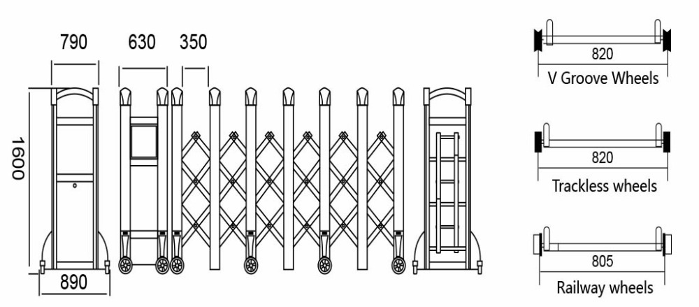 road block barriers expandable barriers steel trackless folding gates and fences