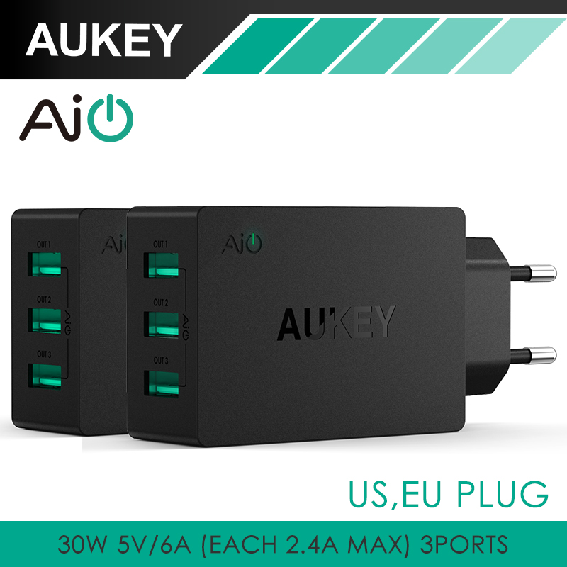 AUKEY 30W 6A USB Travel Wall Charger Adapter with AiPower Adaptive Charging Tech Foldable Plug for