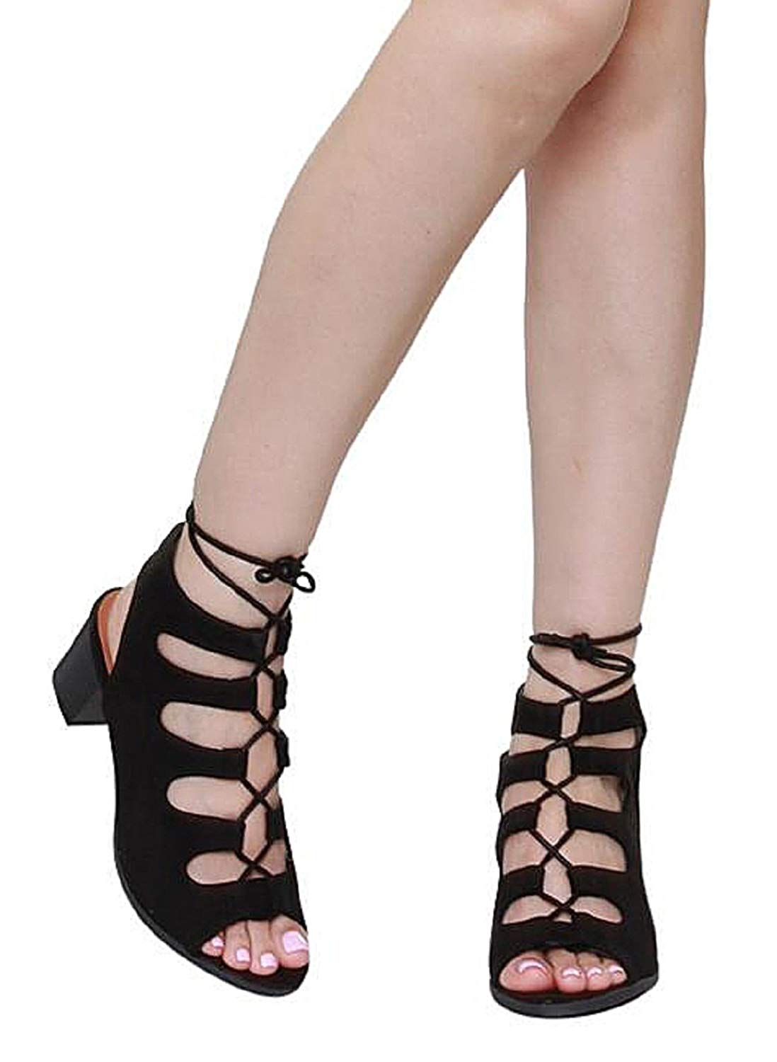 e915b7781f Get Quotations · OLIVIA K Women's Low Chunky Heel Lace Up Cut Out Gladiator  Sandals