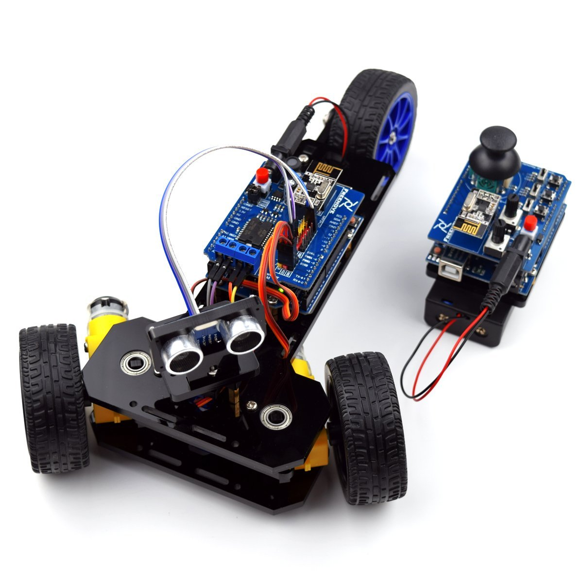 Adeept Three-wheeled Smart Car Kit for Arduino Robot with 2PCS UNO R3 Ultrasonic Obstacle Avoiding, 2.4G Wireless Remote Control