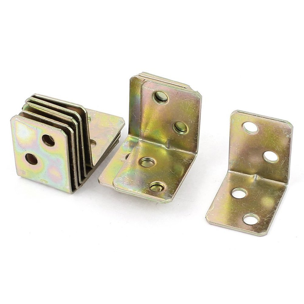 SODIAL(R) Metal Shelf Support 90 Degree Right Angle Bracket 12pcs Brass Tone