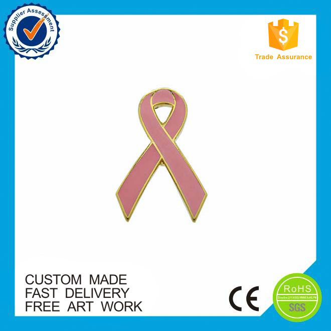 Wholesale breast cancer pink metal ribbon lapel pin