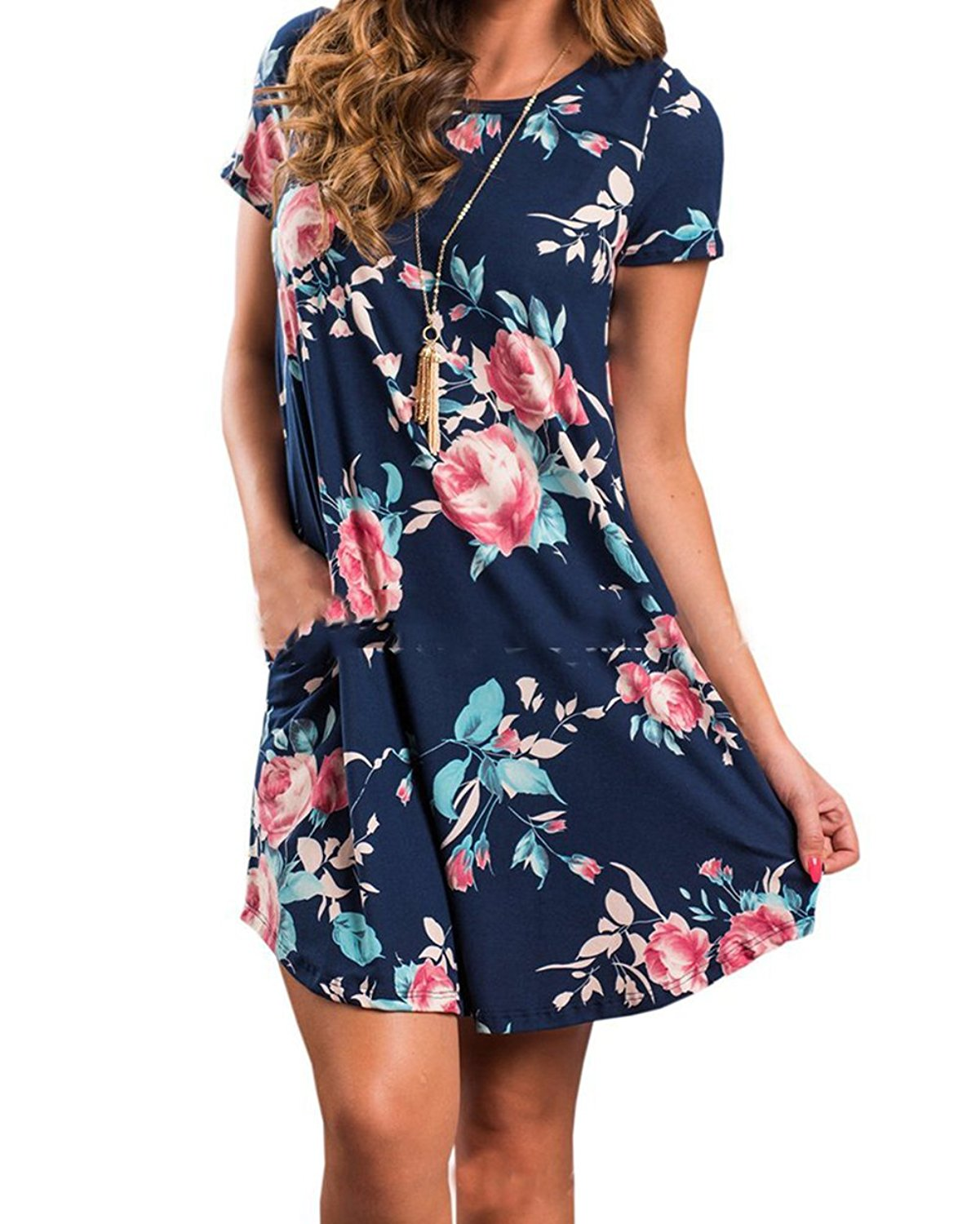 6af7fe2cfd70 Get Quotations · Women s Floral Short Sleeves Dress with Pockets Casual  Loose Top Shirt Sundress Shift Dress