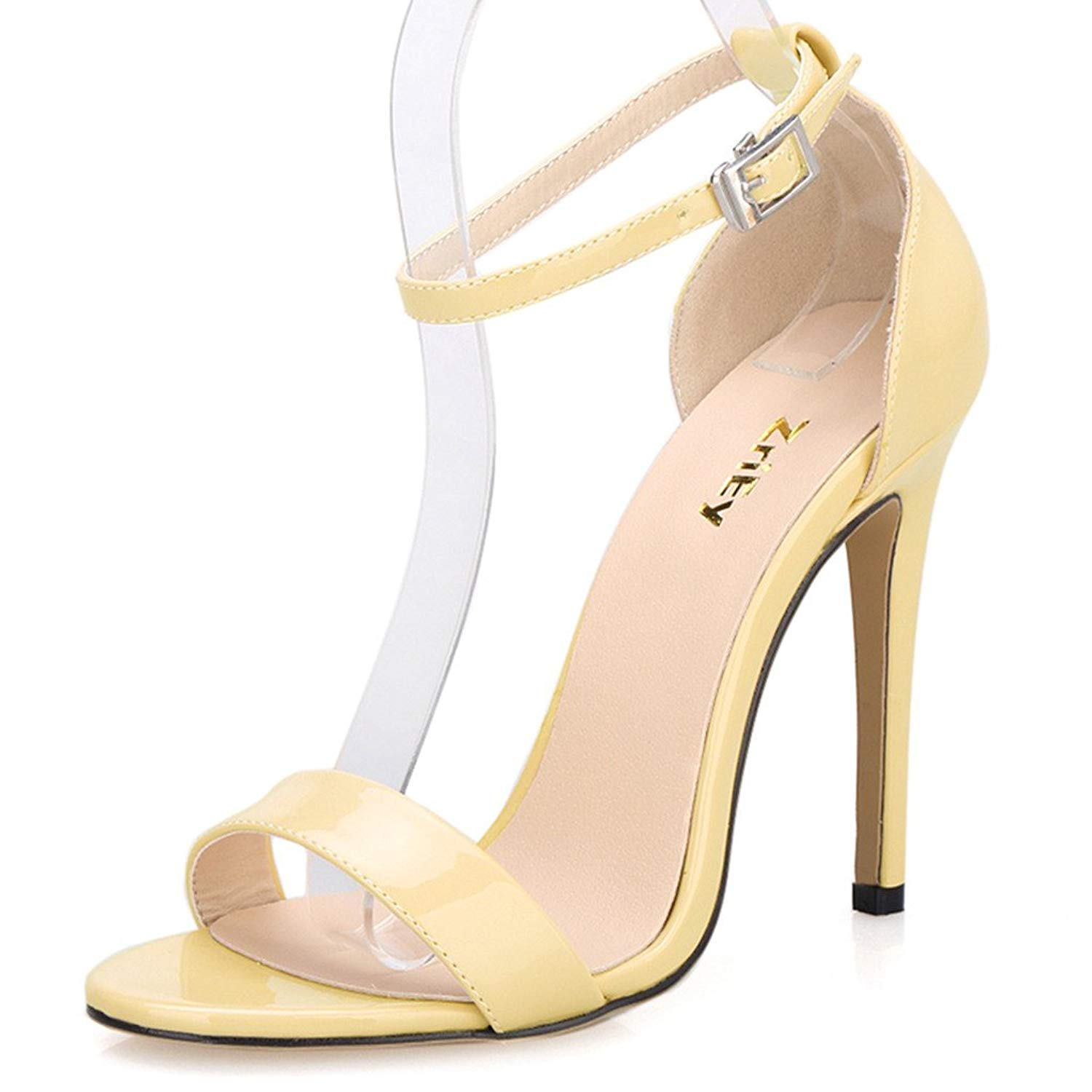 d11495593 Get Quotations · ZriEy Women s Ankle Strap Dress High Heel Sandals  Stilettos 11CM Open Toe Heeled Sandal Patent Leather