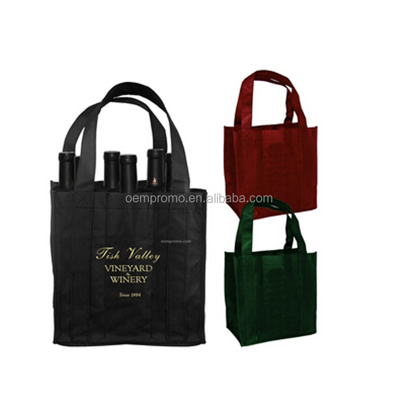 PROMO Custom Logo Printing Non Woven Six Bottle Wine Bag