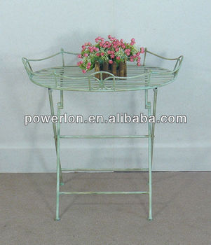 Perfect Best Selling Vintage Antique White Foldable Metal Tray Table