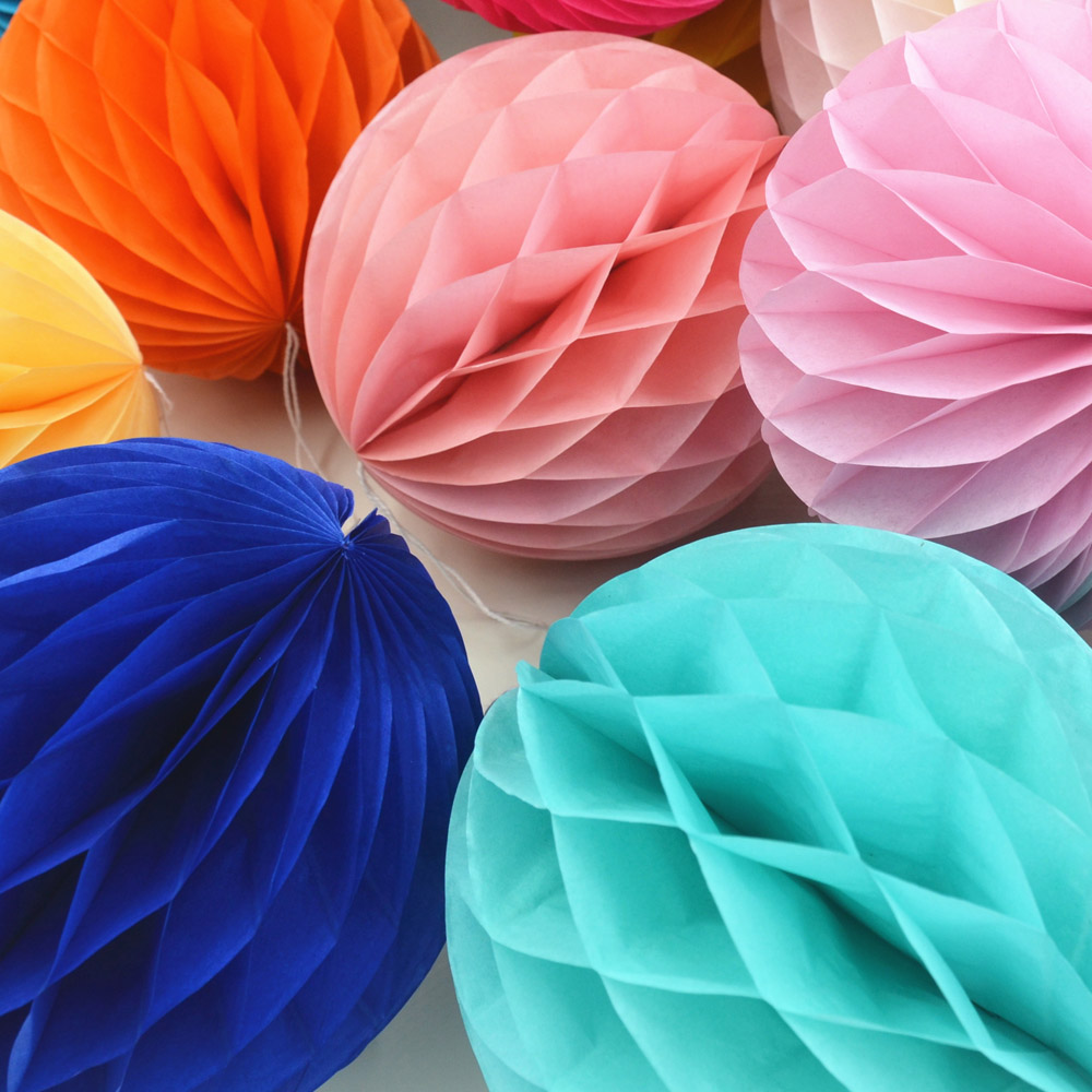 "6"" Mix Size Decorative Flowers Paper Lantern Honeycomb Balls For Wedding , Kids Birthday Decoratio"