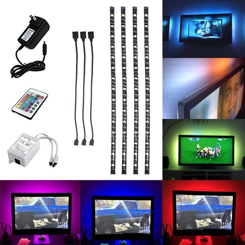 SJP Light® Multi-color 5050 RGB Sofa Couch Back Light LED Backlight Accent Night Light On/Off Switch Control Kit 4pcs LED Waterproof Strip Lights 50CM/40CM
