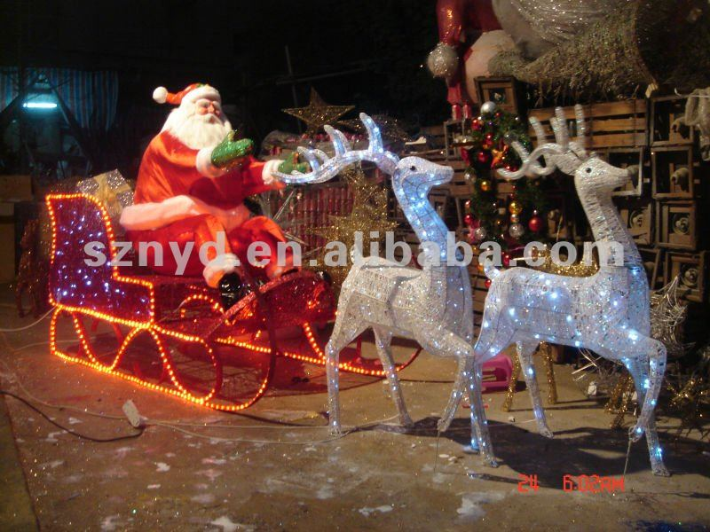 Animated running deer with colorful santa claus decorations - Animated Running Deer With Colorful Santa Claus Decorations - Buy