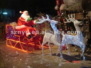 Animated running deer with colorful santa claus decorations