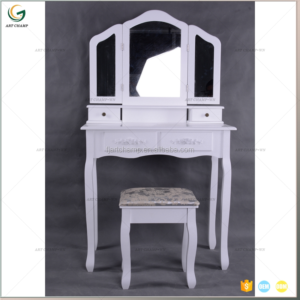 Wooden Dressing Table With Mirror And Stool Wooden Dressing Table