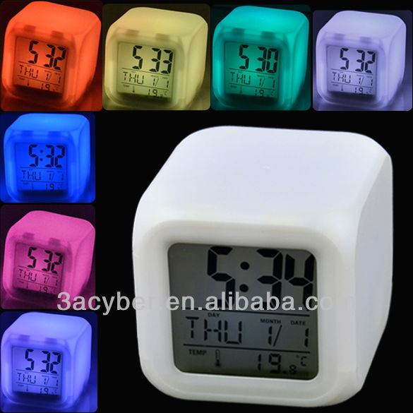 Glowing LED 7 Colors Change Digital Table Alarm Clock With Calendar Thermometer