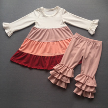 new design imee wholesale fall kids baby clothing children long frocks designs baby girl dress match ruffle pants clothes set
