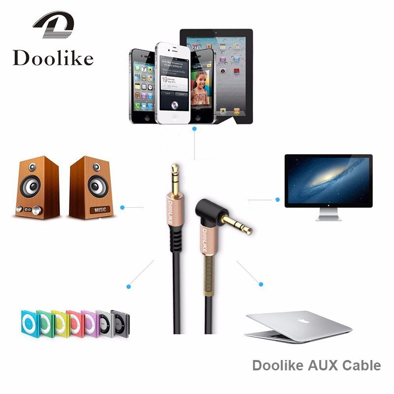 Doolike audio cable cord flat 90 Degree Right Angle Steel Spring 3.5mm aux cable for Headphone mobile phone