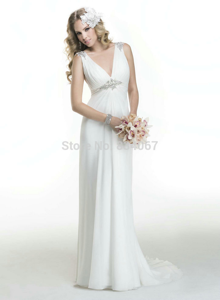 Simple Style Straight Girl Wedding Gown V Neck Tulle Mermaid Chiffon Beading Wedding Dresses in Dubai