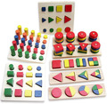 Child Birthday Gift Teaching Toy 8Pcs Set Geometry Shape Learning Classic Blocks Montessori Wooden Toys Baby