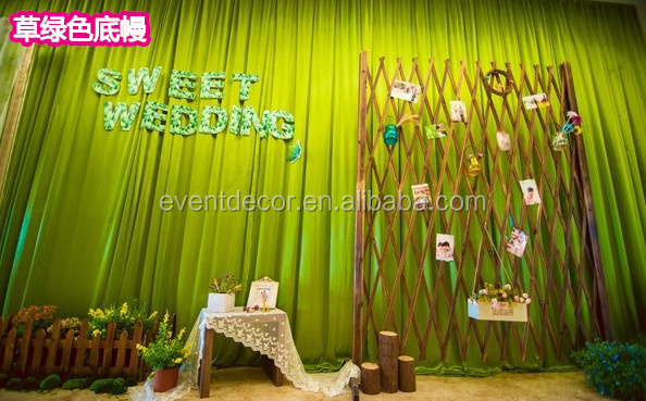 Larger green decorative backdrape silk curtains for decoration wedding center