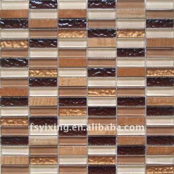 8mm 98gs002 poliert glasmosaik braun beige u bahn kristallglas mosaikfliesen k che backsplash. Black Bedroom Furniture Sets. Home Design Ideas