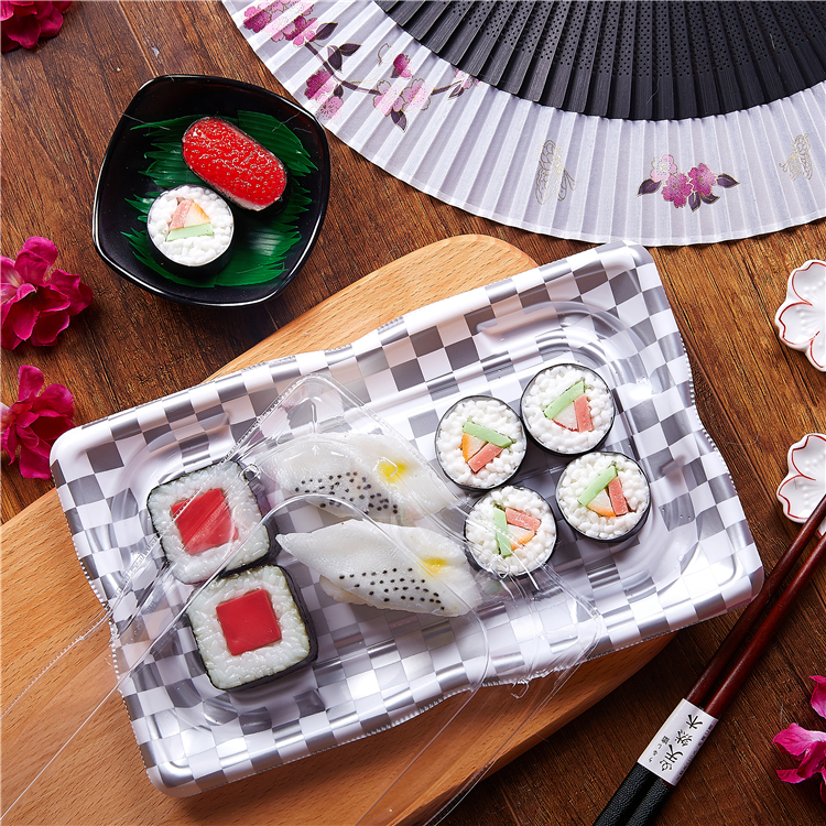 KW-0008YGB export hot sale embossing round sushi container/sushi box /pastry box