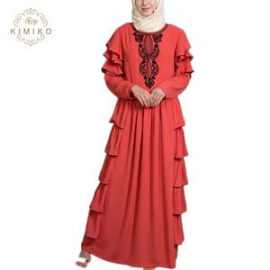 2019 New Style Lady Party Abaya Orange Embroidered Frill Kaftan