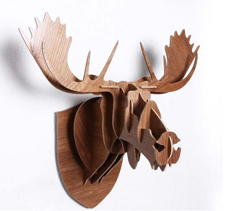 Creative Animal Head Decoration Wood Craft Country Style Home Decor Wooden Moose Wall Ornaments For Bar Hall Coffee In Price On