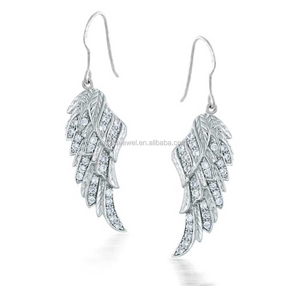 Fashion earring wholesale 925 sterling silver angel wing Hook earring for woman