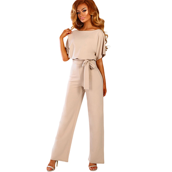 2019 New Arrivals Fashion Belted Wide Leg women jumpsuit