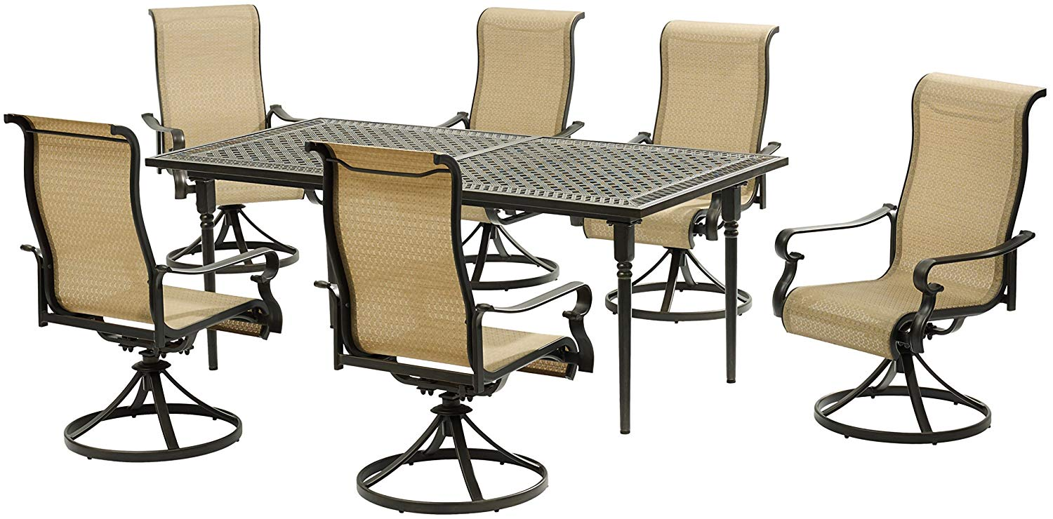 Hanover BRIGDN7PCSW6-EX Brigantine 7Piece Set with an Expandable Cast-Top Dining Table & 6 Sling Swivel Rockers Outdoor Furniture, Tan