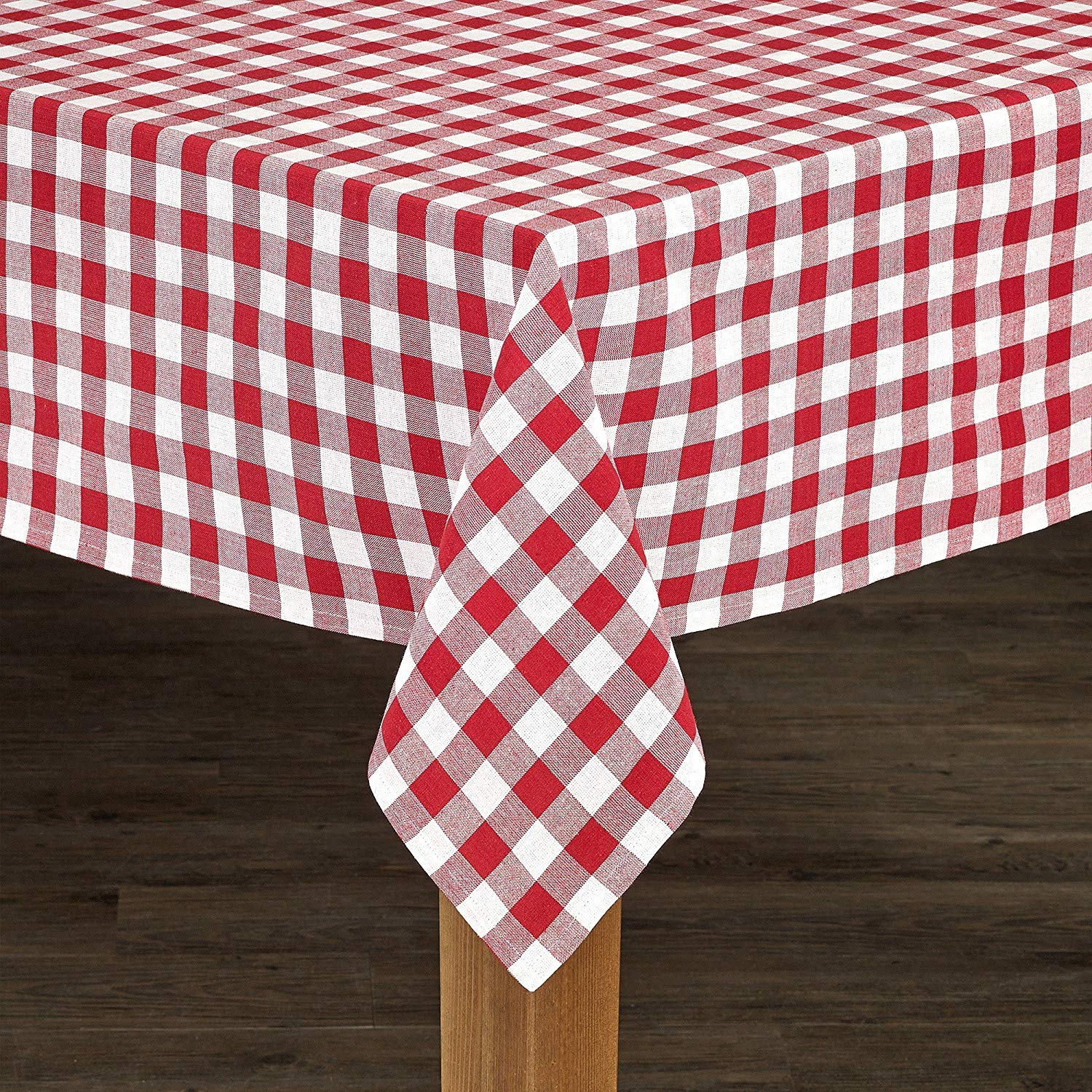 "CA 52"" X 70""inch Red White Multi Colored Checkered Patterned Table Cloth, 1 Piece Plaid Tartan Glen Check Squared Box Geometric Design Rectangle Dining Table Linen Classic Bold, Cotton"