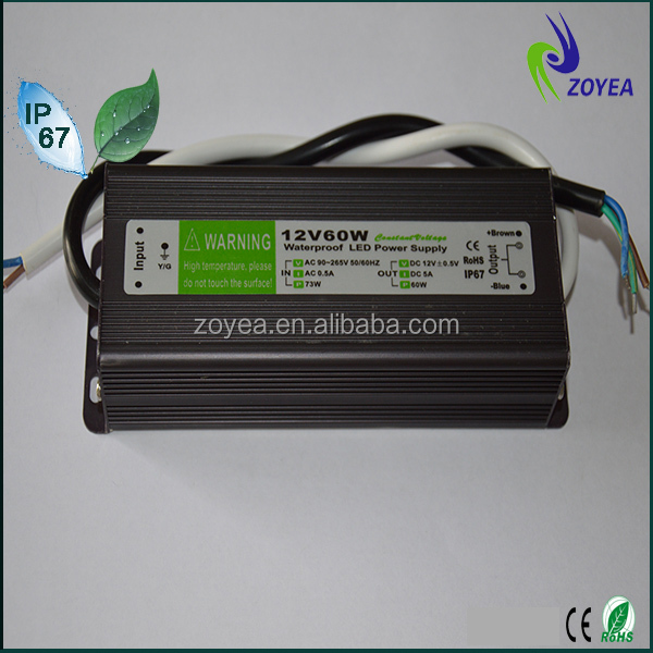 High quanlity non-flicker low ripple led driver 60w ip67 power supply