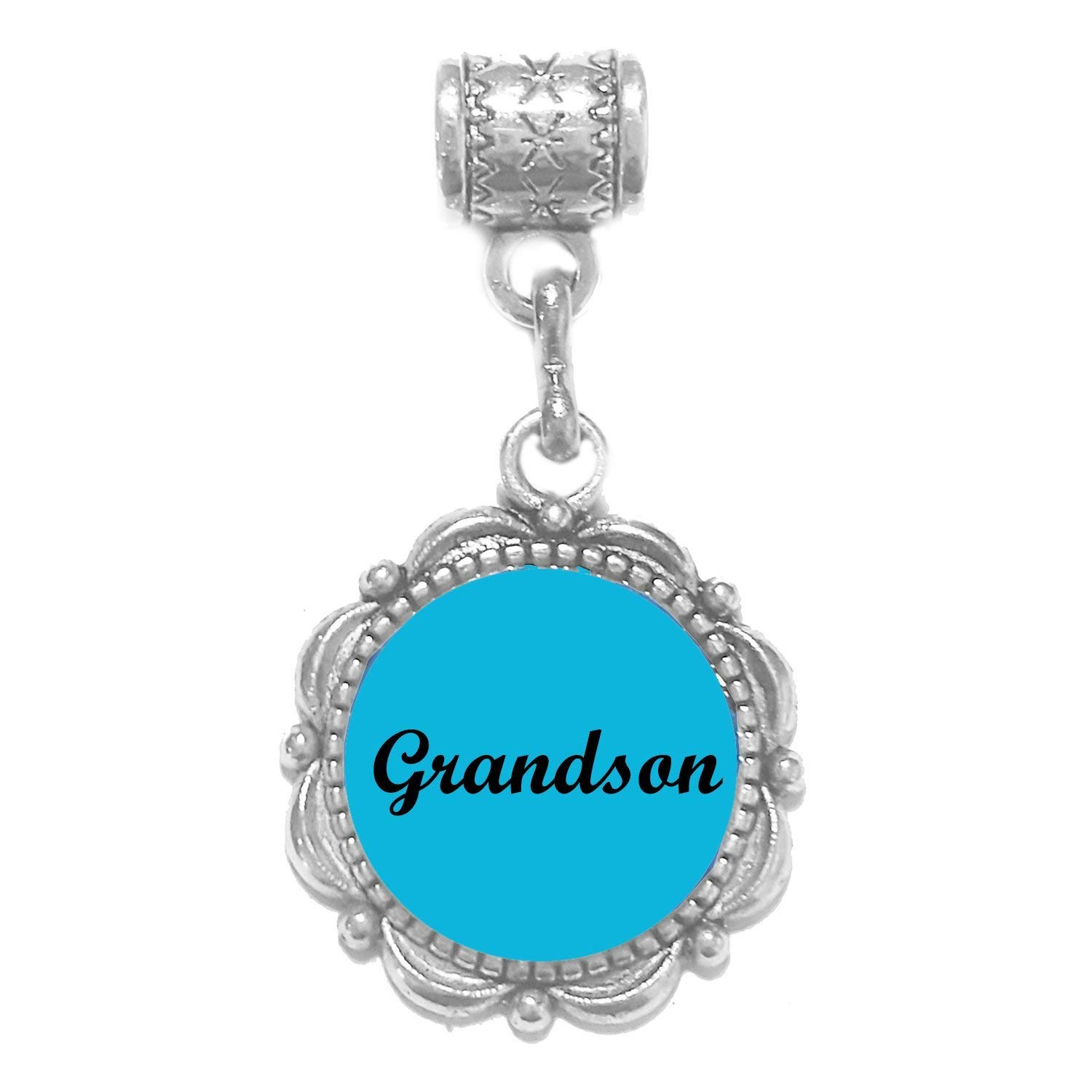 """""""Grandson charm"""" Tibetan Silver Hanging charm for large hole snake chain charm bracelet, or add to a neck chain, pendant necklace or key chain"""