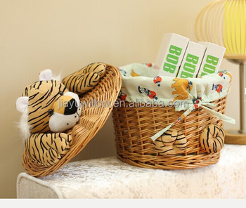 Hot Wicker Basket For Children Storage With Lid Toy Home Decoration