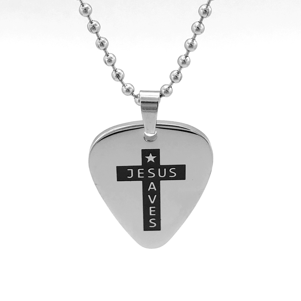 MECYLIFE Stainless Steel Pendant Jesus Jewelry Fashion Guitar Pick Necklace