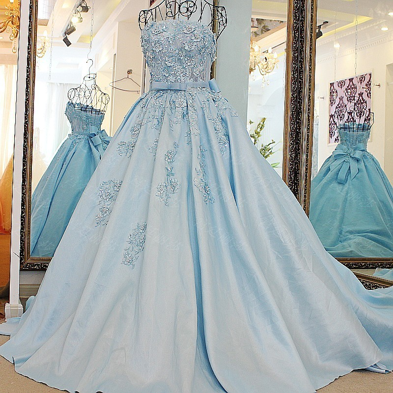 Ls67128 Real Removable Band Belt Ball Gown Strapless Short Puffy ...