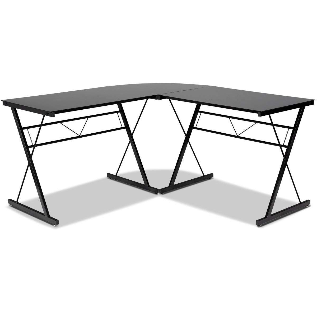 TANGKULA L- Shaped Corner Desk Corner Computer Desk Modern Simple Style 3-Piece Metal Frame Study Laptop Desk Writing Gaming Table Computer Workstation with Glass Top Home Office Studio