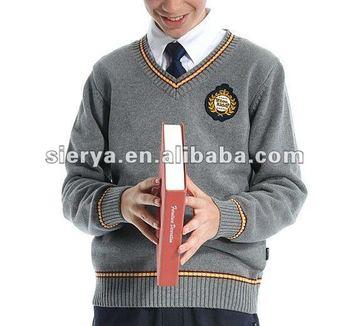 V Neck Children's Thick Cotton School Uniform Sweater Buy