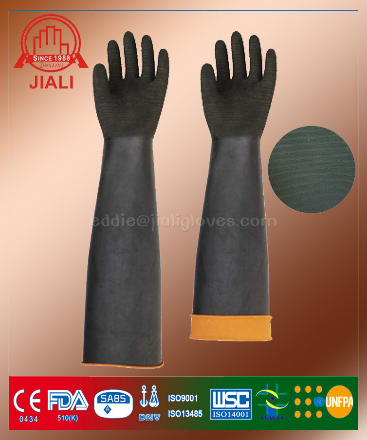 24 inch black sand blasting long hand rubber latex safety gloves