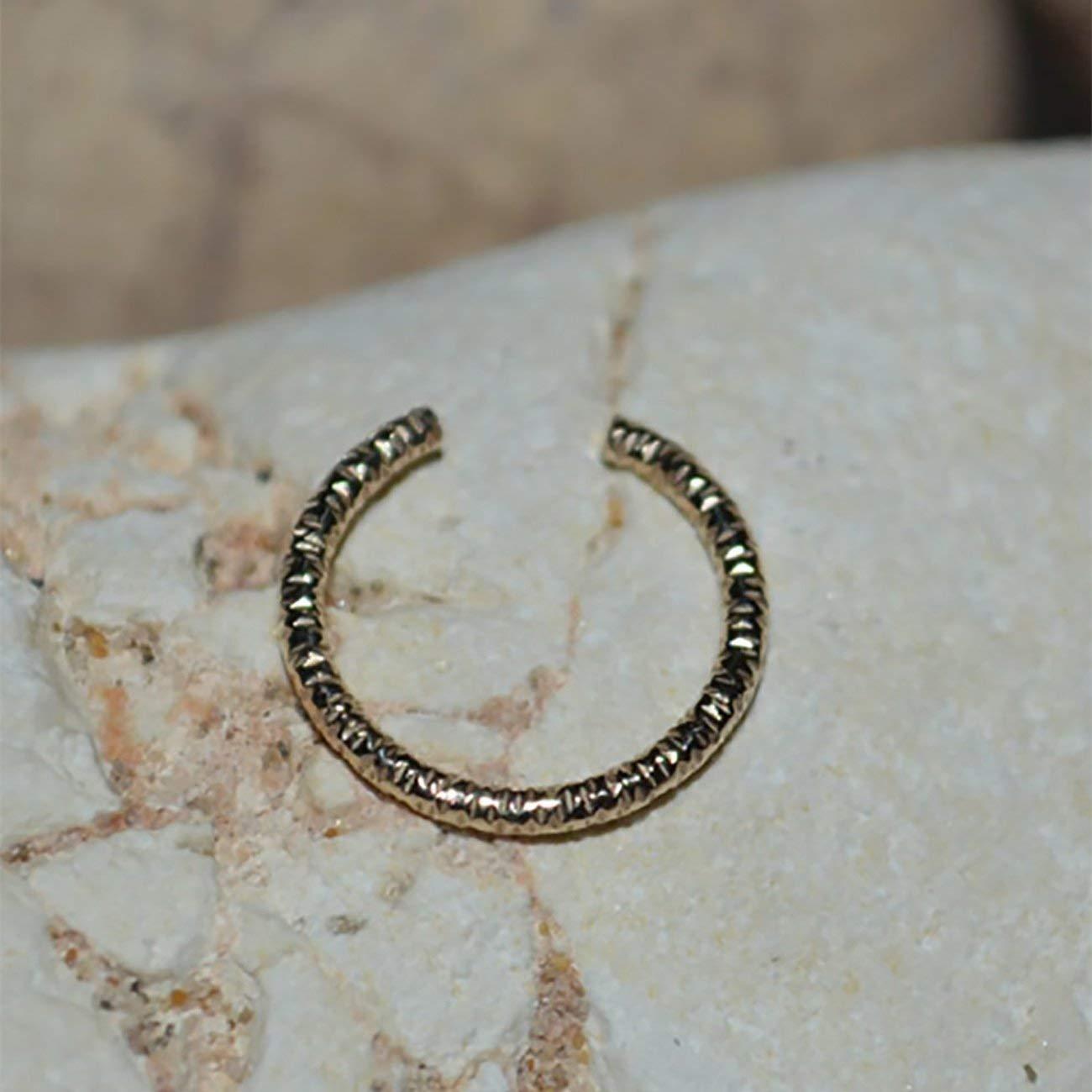 FAUX NOSE RING // Fake Nose Ring - Gold Fake Helix Piercing - Non Pierced Ear Cuff - Fake Tragus Piercing - Nose Cuff 18 gauge