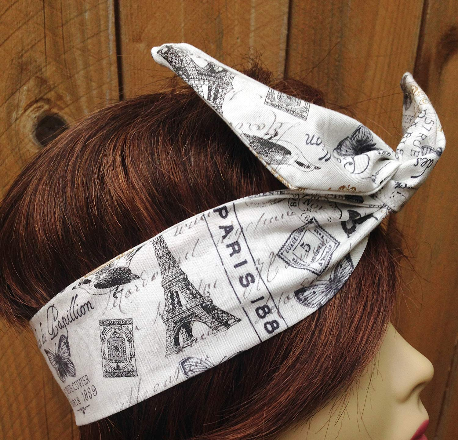 7cb1286161 Get Quotations · Wired Headband Dolly Bow Paris Print Shades of Soft White  and some gold Print Print Wired