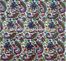 Block Printed Paisley Multi Color Cotton Fabric Sanganeri Jaipuri Wholesale Textile / Fabric / 100% Cotton Fabric