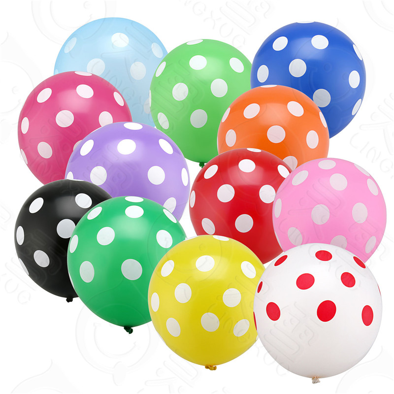 "wholesale 12"" round shaped polka dot printed wave point latex balloons"