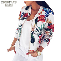 TONGYANG Women Coat Fashion Ladies Retro Floral Zipper Up Bomber Jacket Casual Coat Autumn Outwear Women Clothes