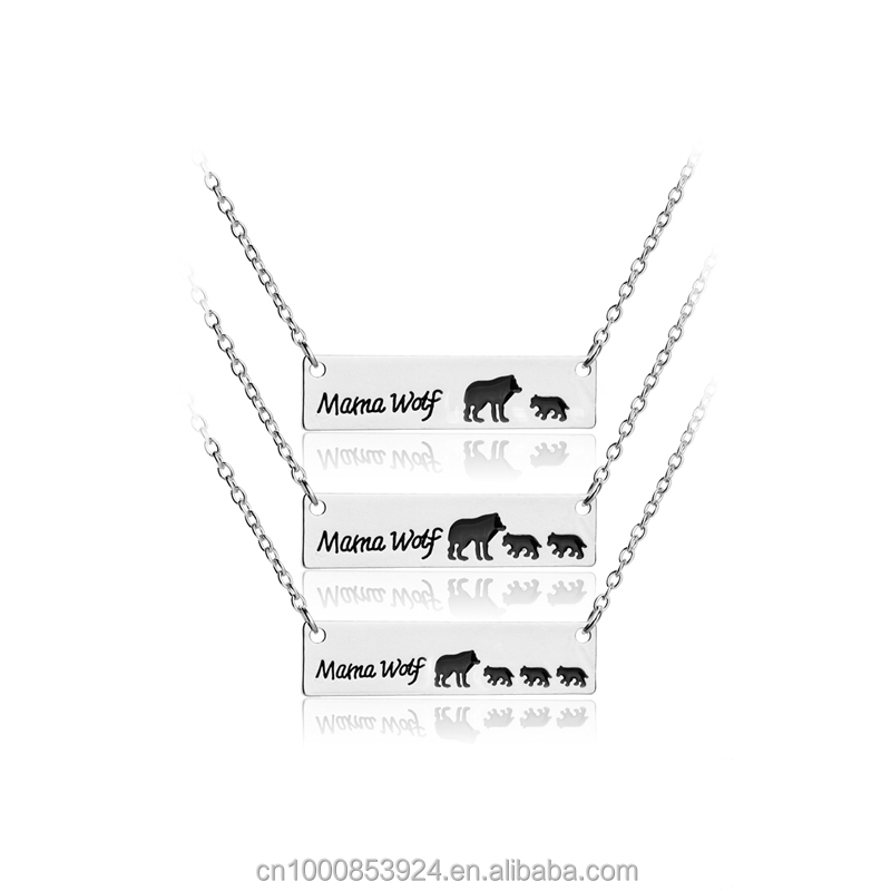 Factory Alloy Mama Wolf Necklace Personalize Silver Bar Necklace Mothers Day